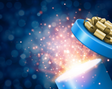 magic box: Open gift and light fireworks christmas vector background