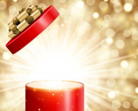 오픈 선물 빛 불꽃 놀이 크리스마스 벡터 배경