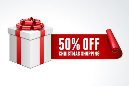 Open geschenkdoos met rode strik geïsoleerd op wit Sale 50 korting Stock Illustratie