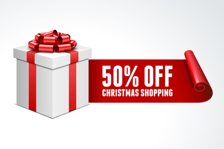 Ouvrez la boîte cadeau avec un arc rouge isolé sur blanc Vente 50 off Banque d'images - 23289422