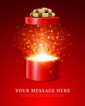 Open geschenk en licht vuurwerk kerst vector achtergrond Vrolijk Kerstfeest en Gelukkig Nieuwjaar of Gelukkige Verjaardag illustratie Stock Illustratie