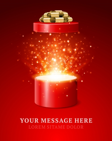 Open gift and light fireworks christmas vector background Merry Christmas and Happy New Year or Happy Birthday illustration
