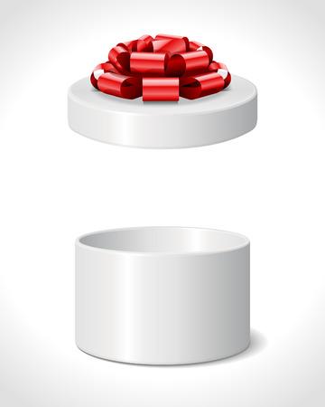cilinder: Aperto regalo con fiocco rosso isolato su bianco Eps di illustrazione vettoriale 10