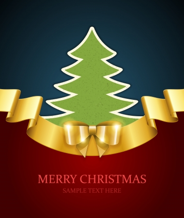 Christmas tree applique and gold bow vector background  Christmas card or invitation   Vector