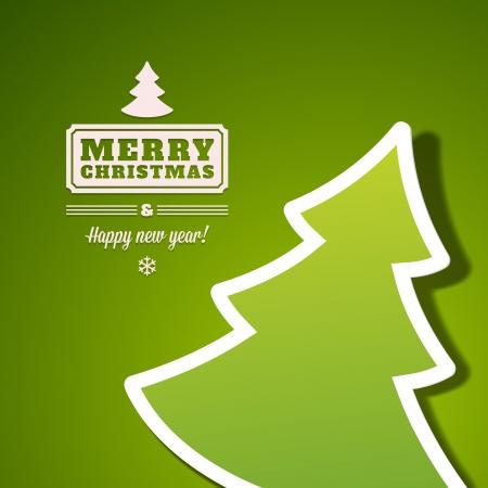 Christmas tree applique vector background  Christmas card or invitation   Vector