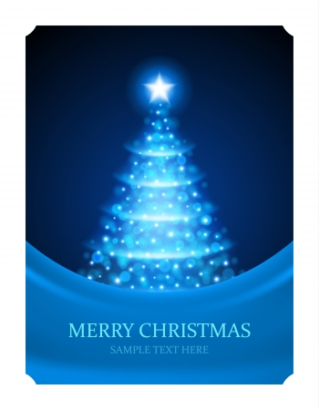 Christmas tree from light vector background  Card or invitation  Eps 10