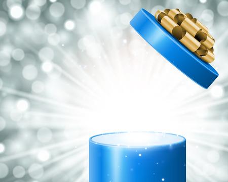 Open geschenk en licht vuurwerk kerst