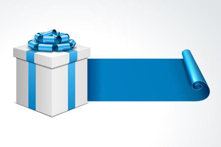 블루 나비 리본 선물 상자 흰색으로 격리 일러스트