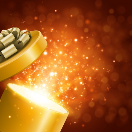 Open gift and light fireworks christmas vector background 免版税图像 - 23298169