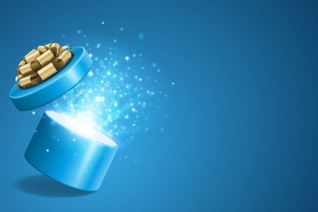 Open geschenk en licht vuurwerk Kerst vector achtergrond Stock Illustratie