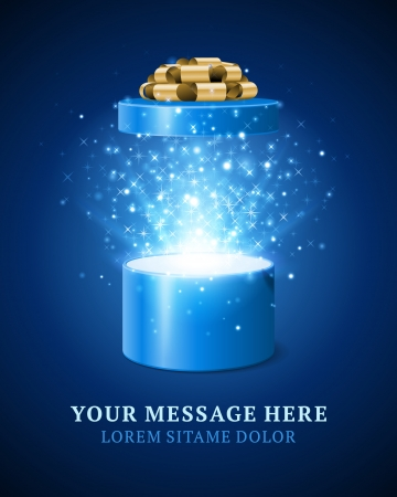 blue box: Open gift box and magic light fireworks christmas vector background