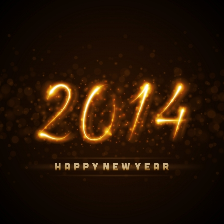 Happy new year 2014 message from light vector background     Vector