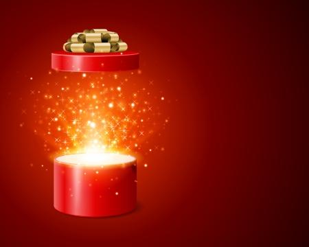 Offene Geschenk-Box und magisches Licht Feuerwerk Weihnachten Vektor Hintergrund