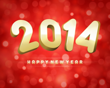 Happy New Year 2014 3d message and light vector background Stock Vector - 23298215