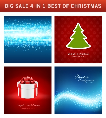 Christmas vector backgrounds set greeting cards banners or christmas vector backgrounds set greeting cards banners or invitations big sale 4 in 1 holiday m4hsunfo