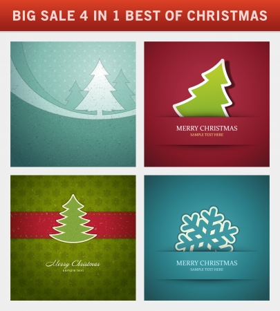 christmas vector backgrounds set greeting cards banners or invitations big sale 4 in 1 holiday - Big Greeting Cards