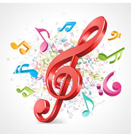 simbolos musicales: Música de fondo colorido con notas Vector de fondo Vectores