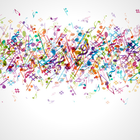 sonata: Colorful music background with notes  Vector background