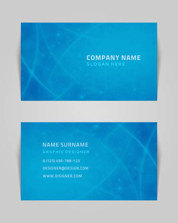 business name: Vector abstract creative business card design template  Light waves background
