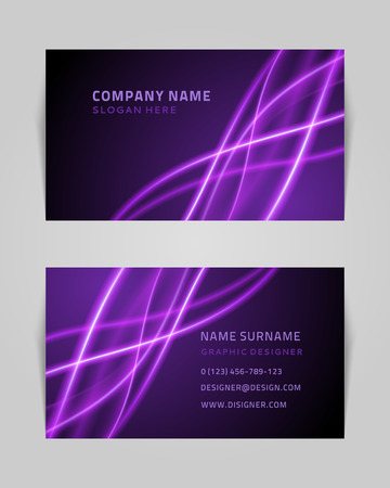 Vector abstract creative business card design template  Light waves background  Vector
