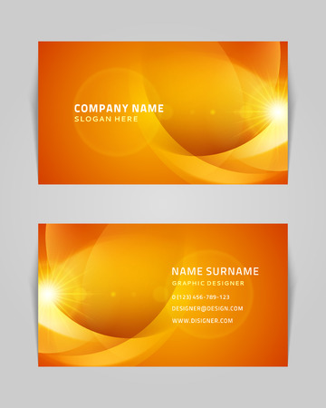 calling on phone: Vector abstract creative business card design template  Light waves background