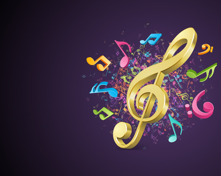 Colorful music background with notes  Vector background  Çizim