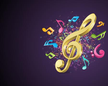 Kleurrijke muziek achtergrond met notities Vector achtergrond