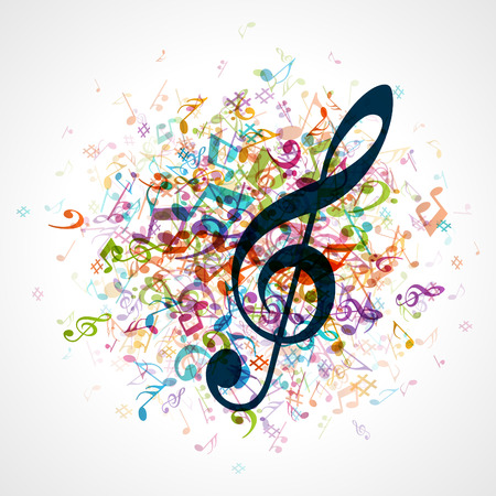 rainbow music: Colorful music background with notes  Vector background  Illustration