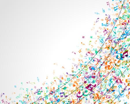 ノートのベクトルの背景とカラフルな音楽の背景