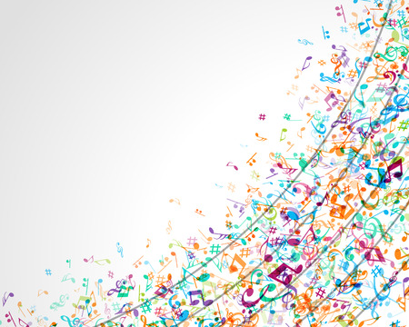 Colorful music background with notes  Vector background  Иллюстрация