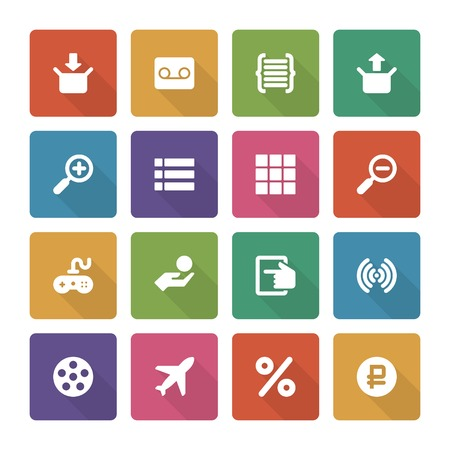 Flat icons vector set and long shadow effect for web design, infographics, ui and mobile apps. Objects, business, office, communication and marketing items Vector