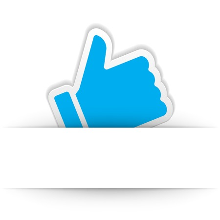 sign up button: Thumb up icon with and cut paper shadow vector design element