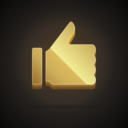 3d Thumb up icon from shiny gold vector design element
