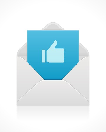 message vector: Thumb up icon from envelope mail message vector design element