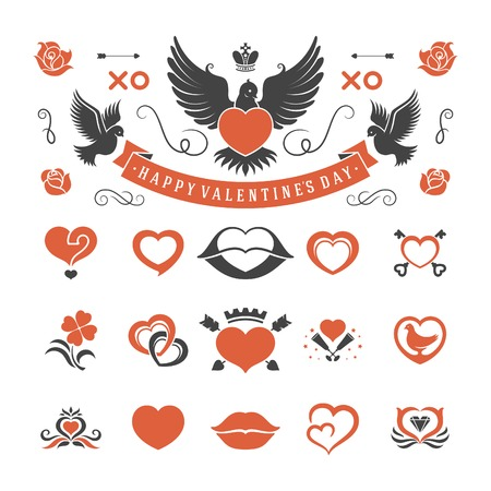kiss lips: Valentines Day or Wedding Vintage Objects Vector and symbols Set: Hearts, Love Labels, Arrow, flowers, ribbons and Icons. Vector design elements Illustration