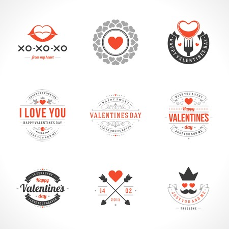 Set Happy Valentines Day vector backgrounds