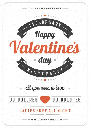 Happy Valentines Day Party Poster Design Template. Typography flyer invitation vector illustration. Vector