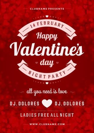 saint valentin coeur: Bonne Saint Valentin Parti Poster Template Design. Typographie d�pliant vecteur illustration invitation.