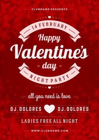sparkle background: Happy Valentines Day Party Poster Design Template. Typography flyer invitation vector illustration. Illustration
