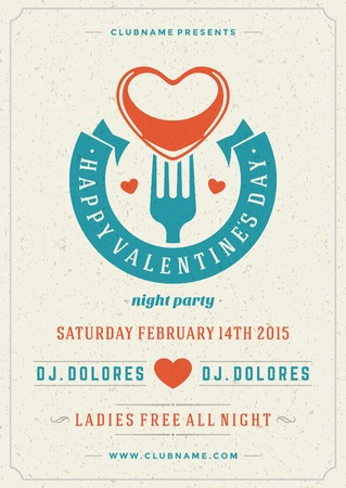 valentines: Happy Valentines Day Party Poster Design Template. Typography flyer invitation vector illustration. Illustration