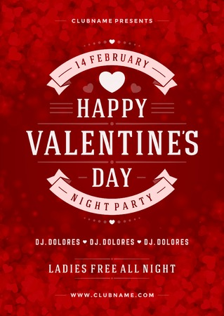 Happy Valentines Day Party Poster Design Template. Typography flyer invitation vector illustration.  イラスト・ベクター素材