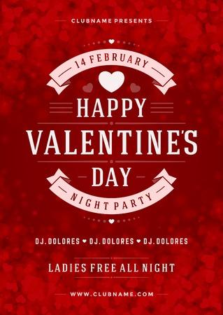 Happy Valentines Day Party Poster Design Template. Typografie flyer uitnodiging vector illustratie. Stock Illustratie