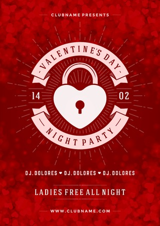 Happy Valentines Day Party Poster Design Template. Typography flyer invitation vector illustration. Vector Illustration