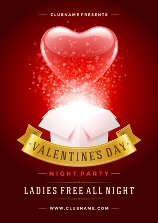 i label: Happy Valentines Day Party Poster Design Template. Typography flyer invitation vector illustration. Illustration