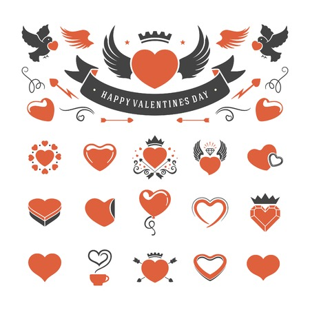 heart with wings: Valentines Day or Wedding Vintage Objects Vector and symbols Set: Hearts, Love Labels, Arrow, flowers, ribbons and Icons. Vector design elements Illustration