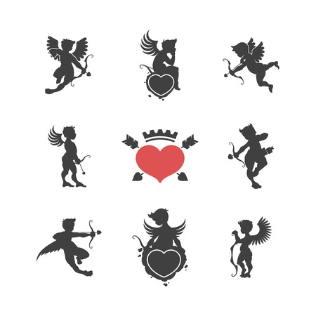 angel white: Set of vintage cute cupid silhouettes and hearts vector illustration Illustration