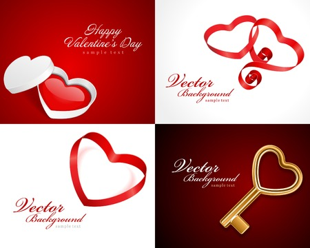 love explode: Set Happy Valentines Day greetings cards vector background Illustration