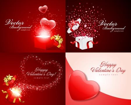stylish couple: Set Happy Valentines Day vector backgrounds