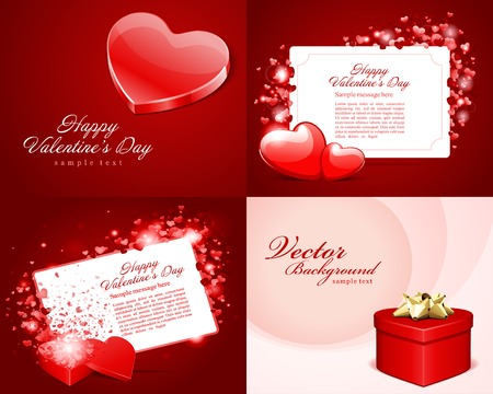 14 february: Set Happy Valentines Day vector backgrounds