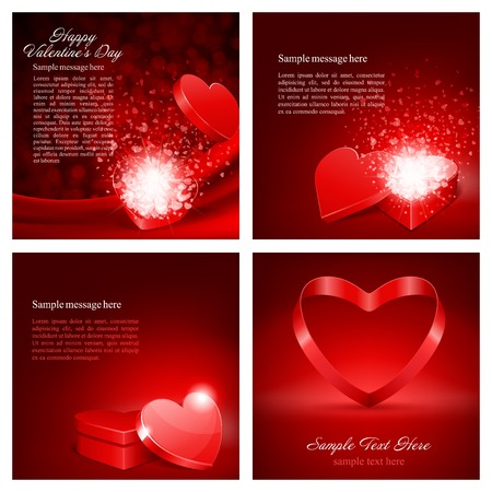하트와 해피 발렌타인 데이 배경의 세트 디자인 템플릿 : 카드, 배너, 초대 또는 포스터 인사말, 벡터 일러스트 레이 션 일러스트